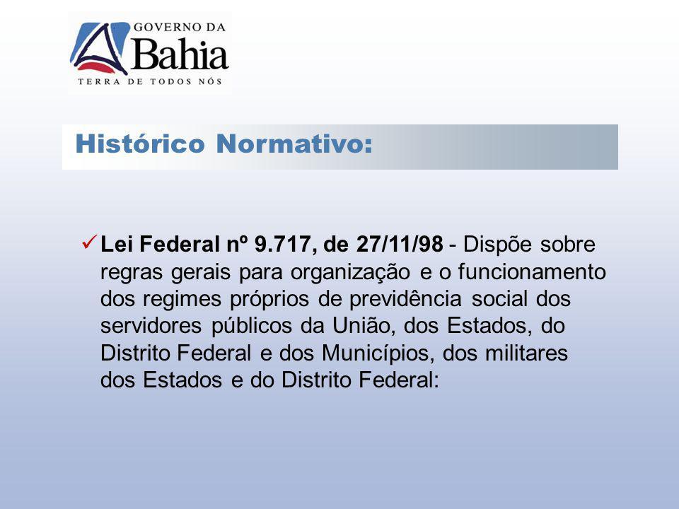 Histórico Normativo: Lei Federal nº 9.717, de 27/11/98 - Dispõe sobre regras gerais para organização e o funcionamento dos regimes próprios de previdê