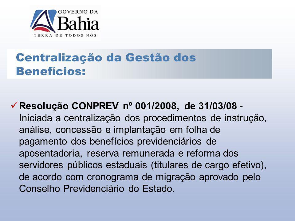 Resolução CONPREV nº 001/2008, de 31/03/08 - Iniciada a centralização dos procedimentos de instrução, análise, concessão e implantação em folha de pag