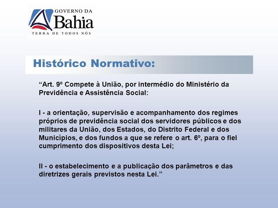 Histórico Normativo: Art. 9º Compete à União, por intermédio do Ministério da Previdência e Assistência Social: I - a orientação, supervisão e acompan
