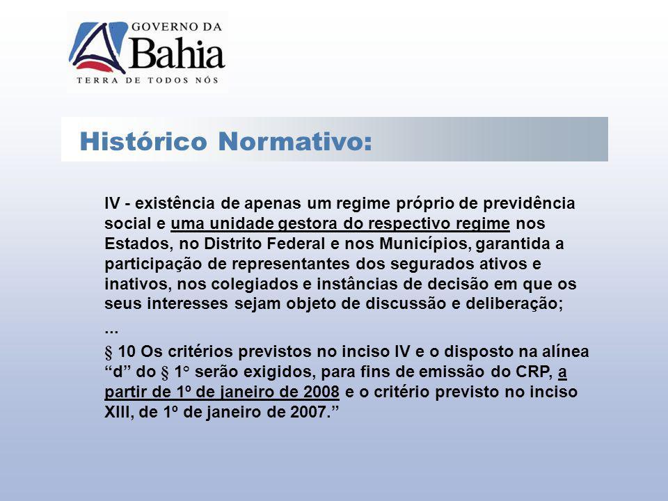 Histórico Normativo: IV - existência de apenas um regime próprio de previdência social e uma unidade gestora do respectivo regime nos Estados, no Dist