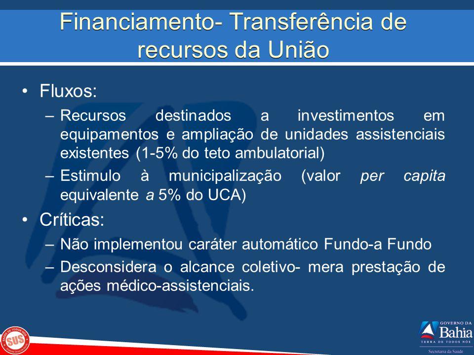 Financiamento- Transferência de recursos da União Fluxos: –Recursos destinados a investimentos em equipamentos e ampliação de unidades assistenciais e