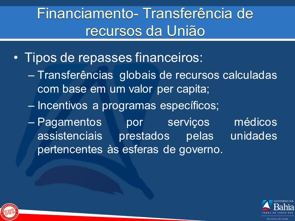 Financiamento- Transferência de recursos da União Tipos de repasses financeiros: –Transferências globais de recursos calculadas com base em um valor p