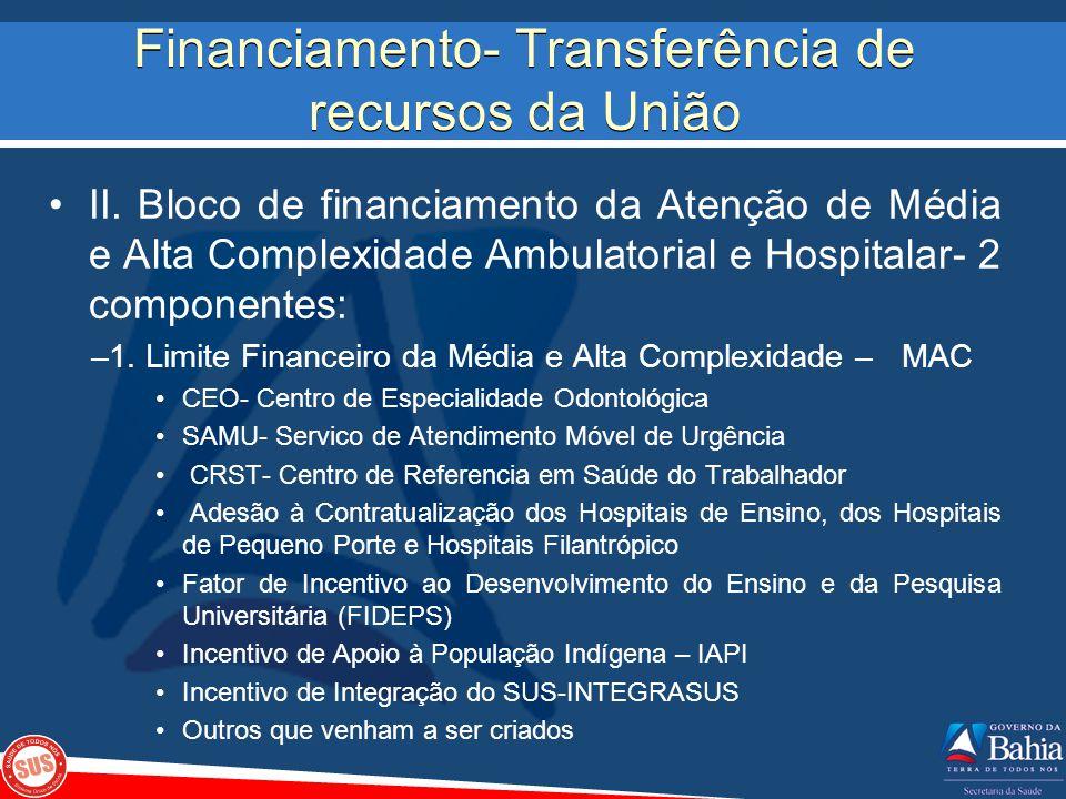 Financiamento- Transferência de recursos da União II. Bloco de financiamento da Atenção de Média e Alta Complexidade Ambulatorial e Hospitalar- 2 comp