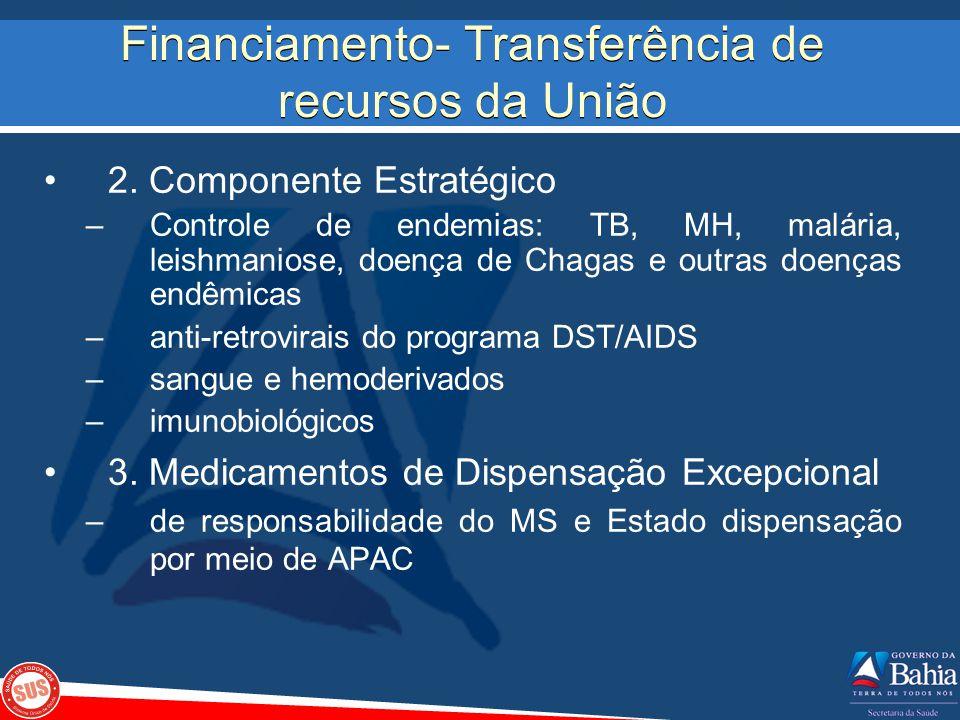 Financiamento- Transferência de recursos da União 2. Componente Estratégico –Controle de endemias: TB, MH, malária, leishmaniose, doença de Chagas e o