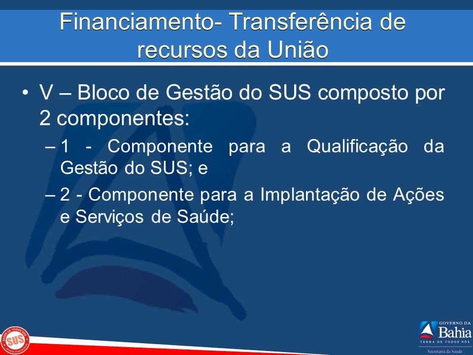 Financiamento- Transferência de recursos da União V – Bloco de Gestão do SUS composto por 2 componentes: –1 - Componente para a Qualificação da Gestão