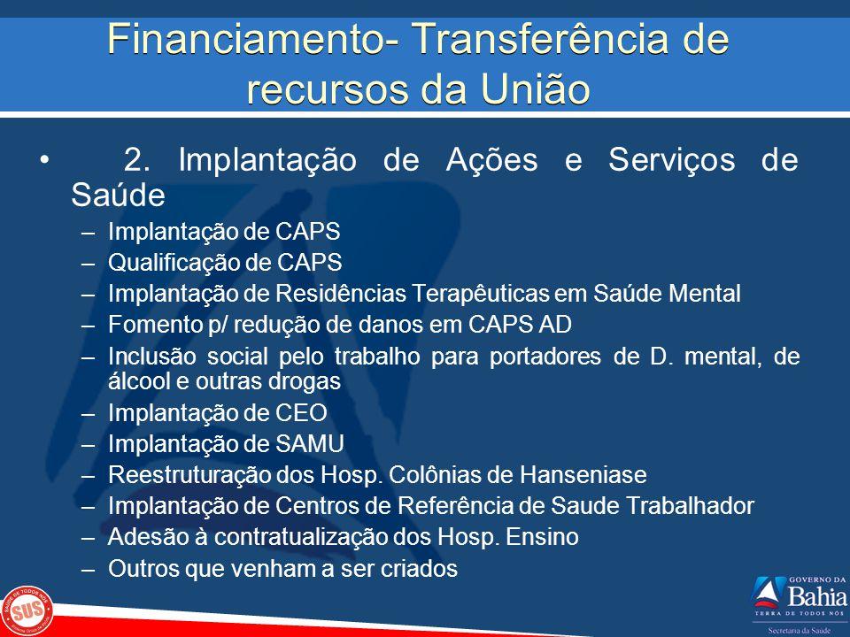 Financiamento- Transferência de recursos da União 2. Implantação de Ações e Serviços de Saúde –Implantação de CAPS –Qualificação de CAPS –Implantação