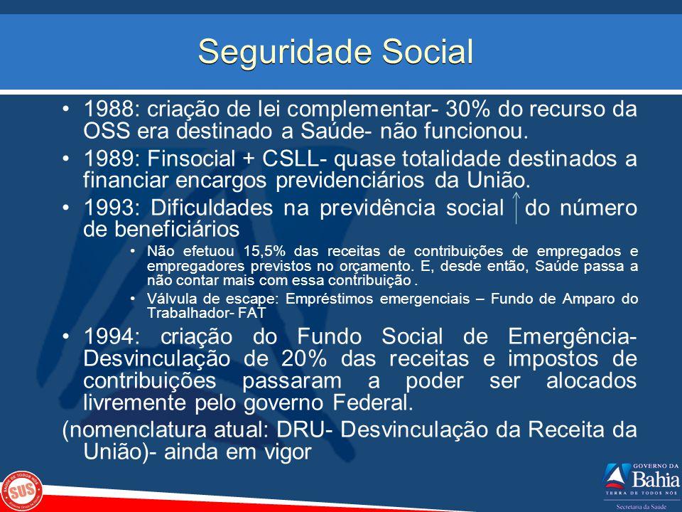 1988: criação de lei complementar- 30% do recurso da OSS era destinado a Saúde- não funcionou. 1989: Finsocial + CSLL- quase totalidade destinados a f