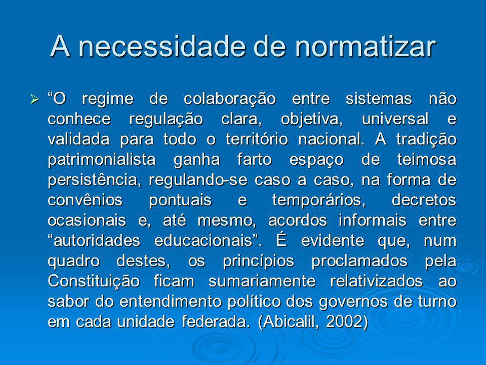 A Normatização do RC normatizar seria criar mecanismos compulsórios de organização dos sistemas de educação para o desenvolvimento das políticas educacionais nas distintas esferas de governo.