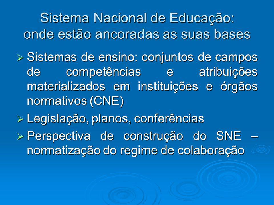A construção do SNE Organização dos sistemas educacionais; Organização dos sistemas educacionais; jogo de poder que permeia as relações entre os governos e entre estes e a sociedade civil.