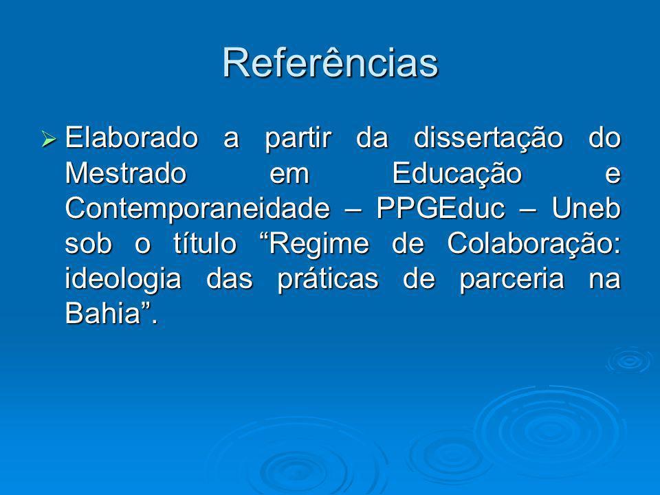 Referências Elaborado a partir da dissertação do Mestrado em Educação e Contemporaneidade – PPGEduc – Uneb sob o título Regime de Colaboração: ideolog