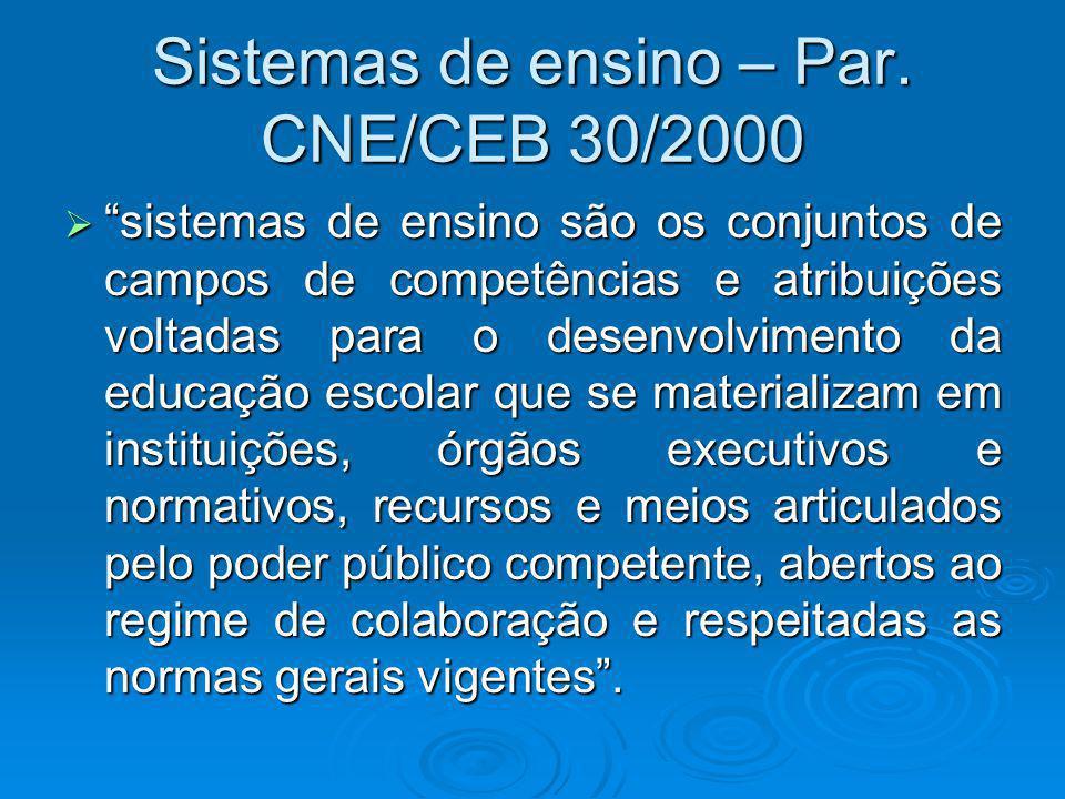 Sistemas de ensino – Par. CNE/CEB 30/2000 sistemas de ensino são os conjuntos de campos de competências e atribuições voltadas para o desenvolvimento