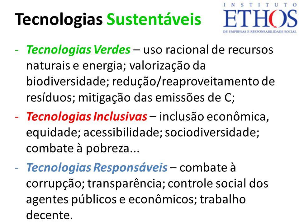 Tecnologias Sustentáveis -Tecnologias Verdes – uso racional de recursos naturais e energia; valorização da biodiversidade; redução/reaproveitamento de