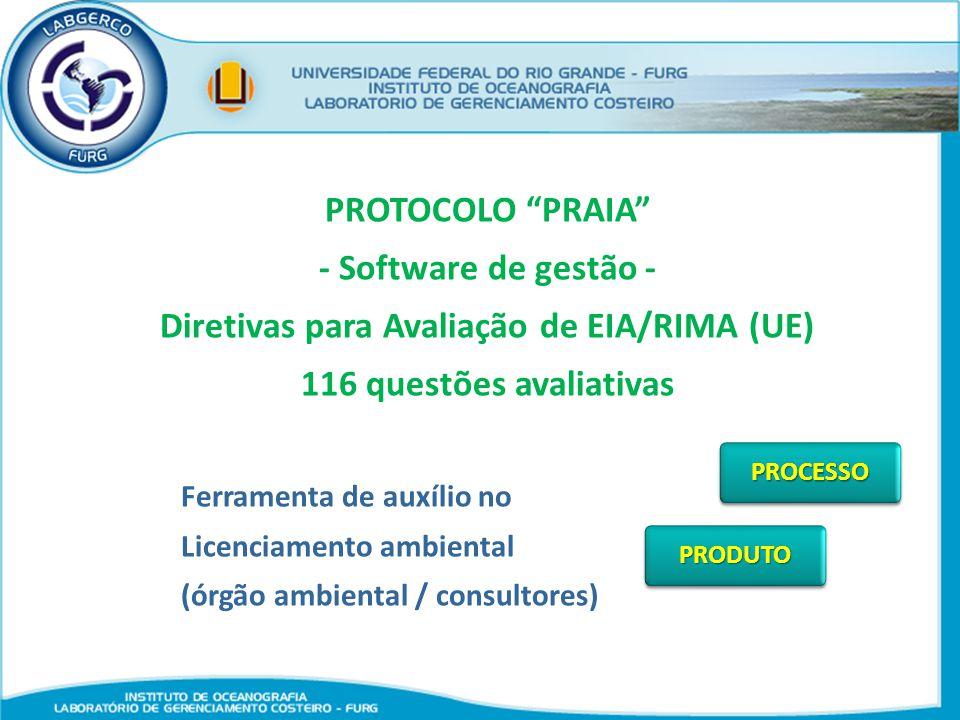 PROTOCOLO PRAIA - Software de gestão - Diretivas para Avaliação de EIA/RIMA (UE) 116 questões avaliativas Ferramenta de auxílio no Licenciamento ambie