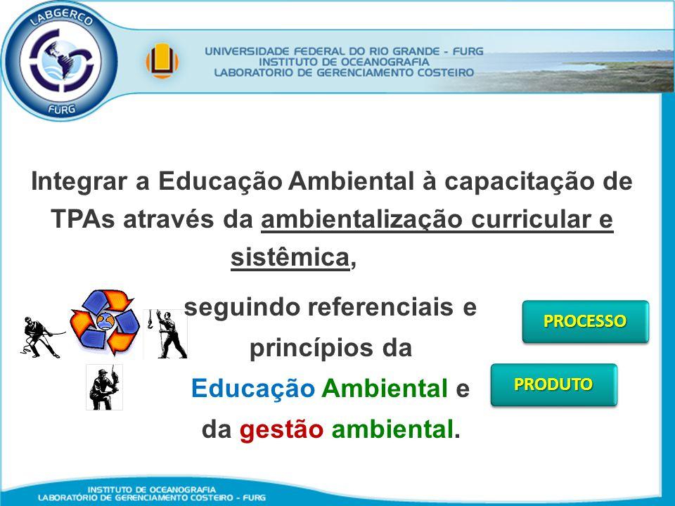 Integrar a Educação Ambiental à capacitação de TPAs através da ambientalização curricular e sistêmica, seguindo referenciais e princípios da Educação
