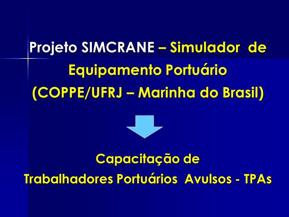 Projeto SIMCRANE – Simulador de Equipamento Portuário (COPPE/UFRJ – Marinha do Brasil) Capacitação de Trabalhadores Portuários Avulsos - TPAs