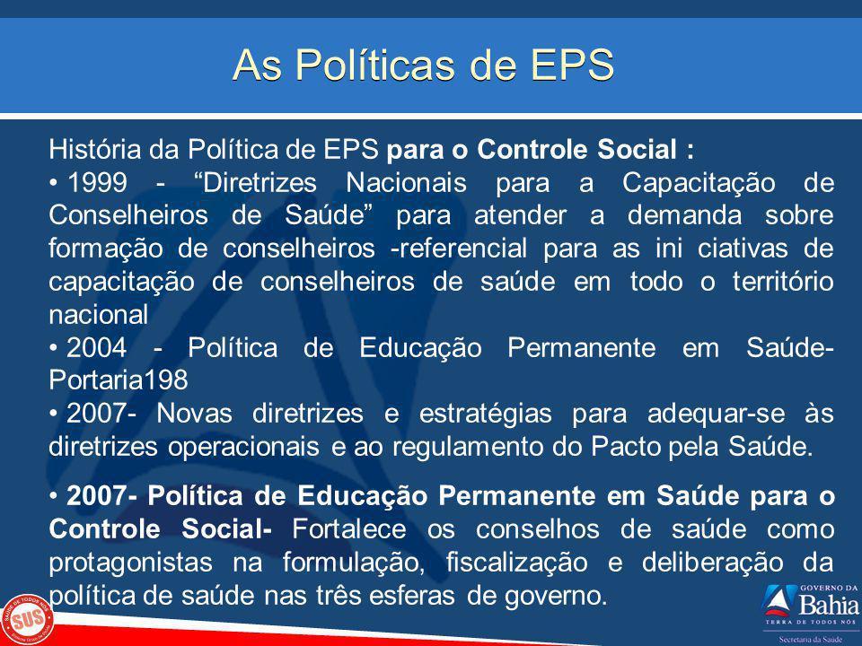 As Políticas de EPS História da Política de EPS para o Controle Social : 1999 - Diretrizes Nacionais para a Capacitação de Conselheiros de Saúde para