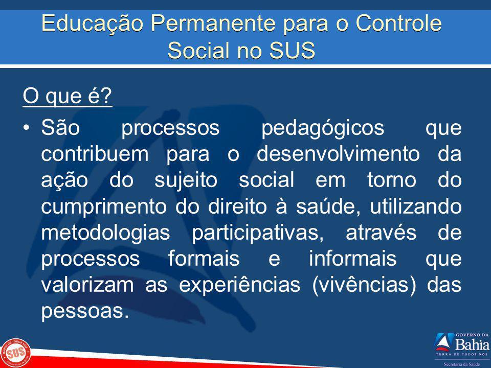 Educação Permanente para o Controle Social no SUS O que é? São processos pedagógicos que contribuem para o desenvolvimento da ação do sujeito social e