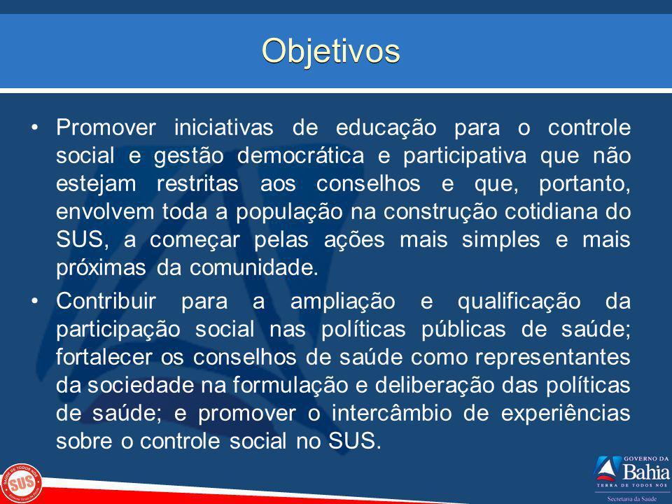 Objetivos Promover iniciativas de educação para o controle social e gestão democrática e participativa que não estejam restritas aos conselhos e que,