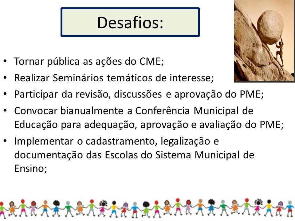 Tornar pública as ações do CME; Realizar Seminários temáticos de interesse; Participar da revisão, discussões e aprovação do PME; Convocar bianualment