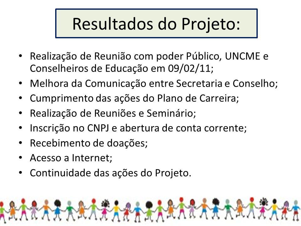 Resultados do Projeto: Realização de Reunião com poder Público, UNCME e Conselheiros de Educação em 09/02/11; Melhora da Comunicação entre Secretaria