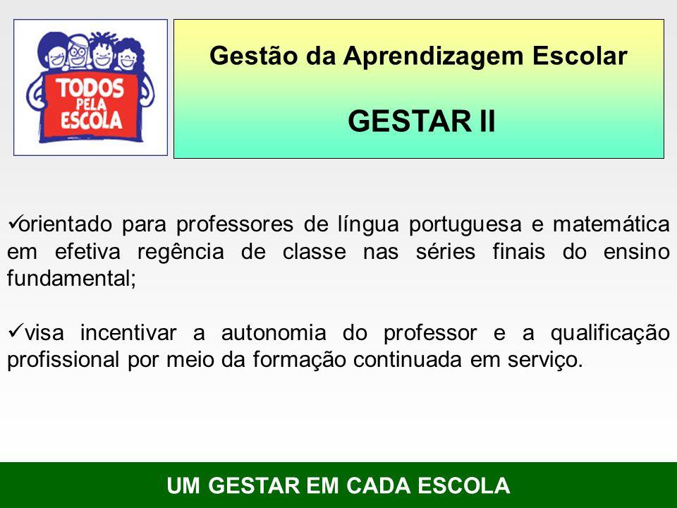 UM GESTAR EM CADA ESCOLA orientado para professores de língua portuguesa e matemática em efetiva regência de classe nas séries finais do ensino fundam