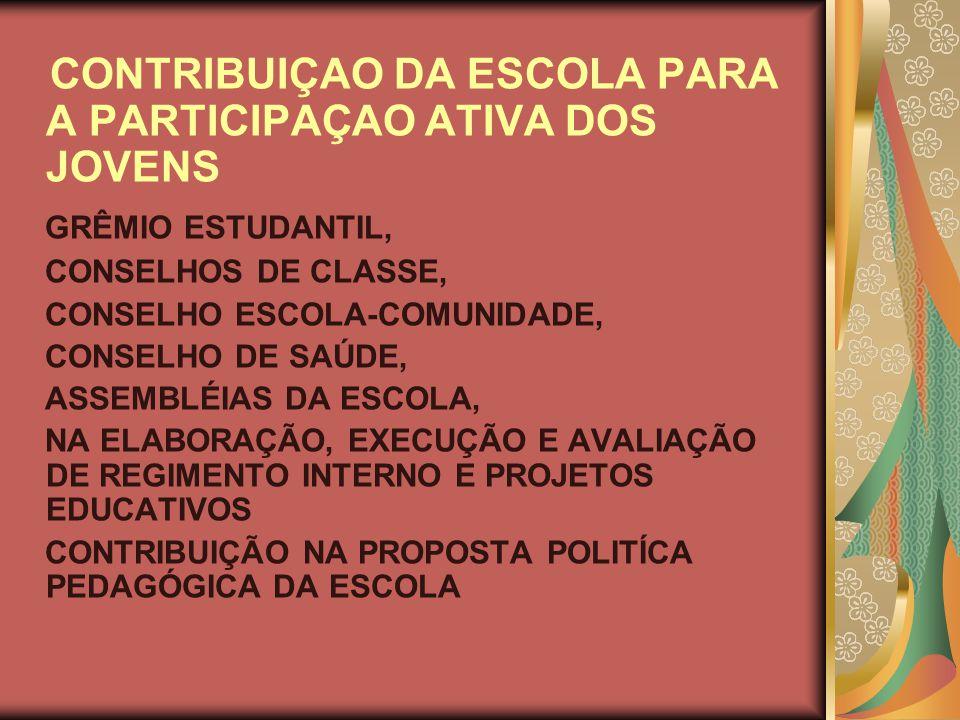 CONTRIBUIÇAO DA ESCOLA PARA A PARTICIPAÇAO ATIVA DOS JOVENS GRÊMIO ESTUDANTIL, CONSELHOS DE CLASSE, CONSELHO ESCOLA-COMUNIDADE, CONSELHO DE SAÚDE, ASSEMBLÉIAS DA ESCOLA, NA ELABORAÇÃO, EXECUÇÃO E AVALIAÇÃO DE REGIMENTO INTERNO E PROJETOS EDUCATIVOS CONTRIBUIÇÃO NA PROPOSTA POLITÍCA PEDAGÓGICA DA ESCOLA
