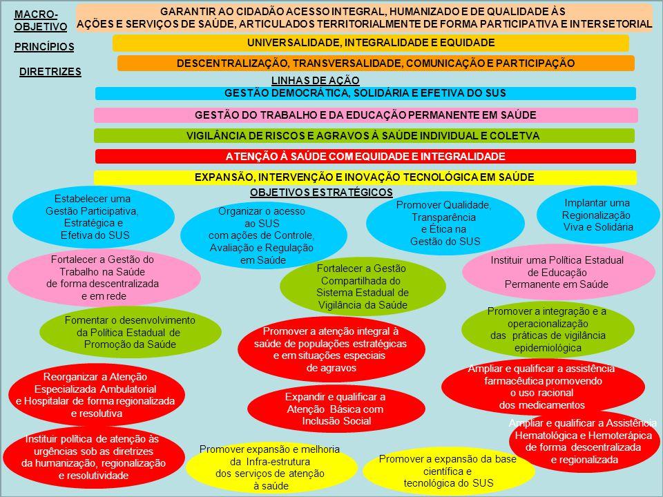 MACRO- OBJETIVO PRINCÍPIOS DIRETRIZES LINHAS DE AÇÃO GARANTIR AO CIDADÃO ACESSO INTEGRAL, HUMANIZADO E DE QUALIDADE ÀS AÇÕES E SERVIÇOS DE SAÚDE, ARTI