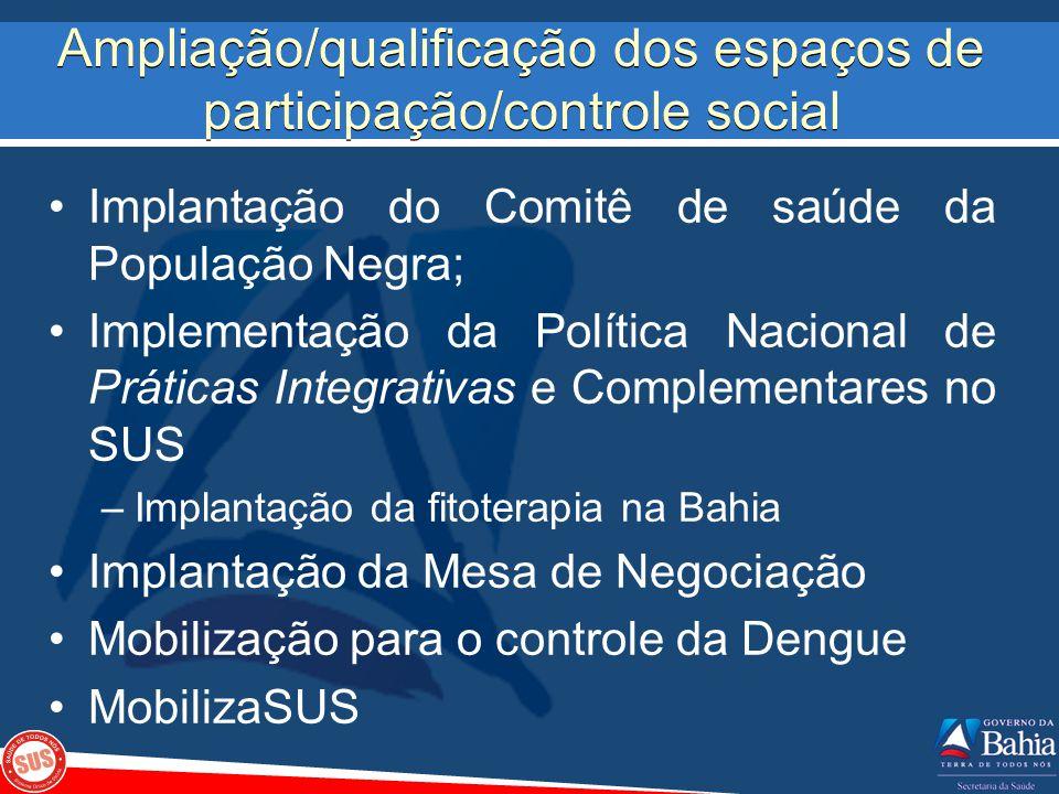 Ampliação/qualificação dos espaços de participação/controle social Implantação do Comitê de saúde da População Negra; Implementação da Política Nacion