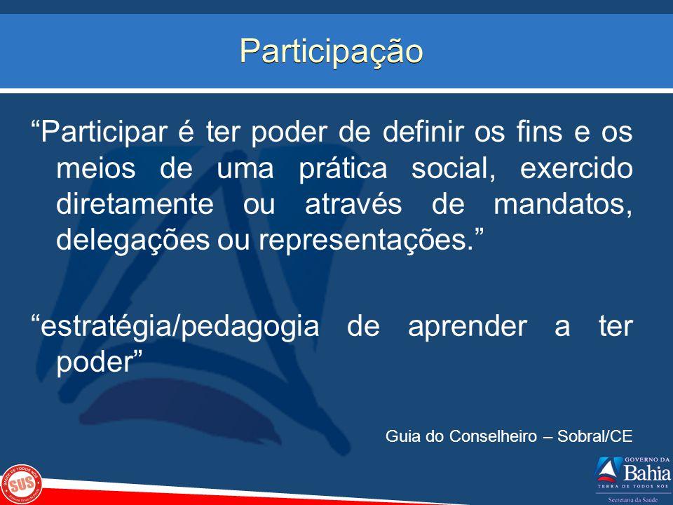 Participação Participar é ter poder de definir os fins e os meios de uma prática social, exercido diretamente ou através de mandatos, delegações ou re