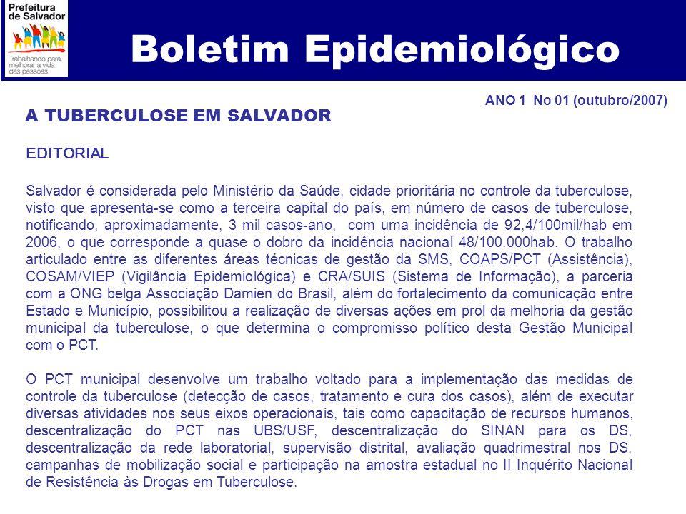 Boletim Epidemiológico A TUBERCULOSE EM SALVADOR EDITORIAL Salvador é considerada pelo Ministério da Saúde, cidade prioritária no controle da tubercul