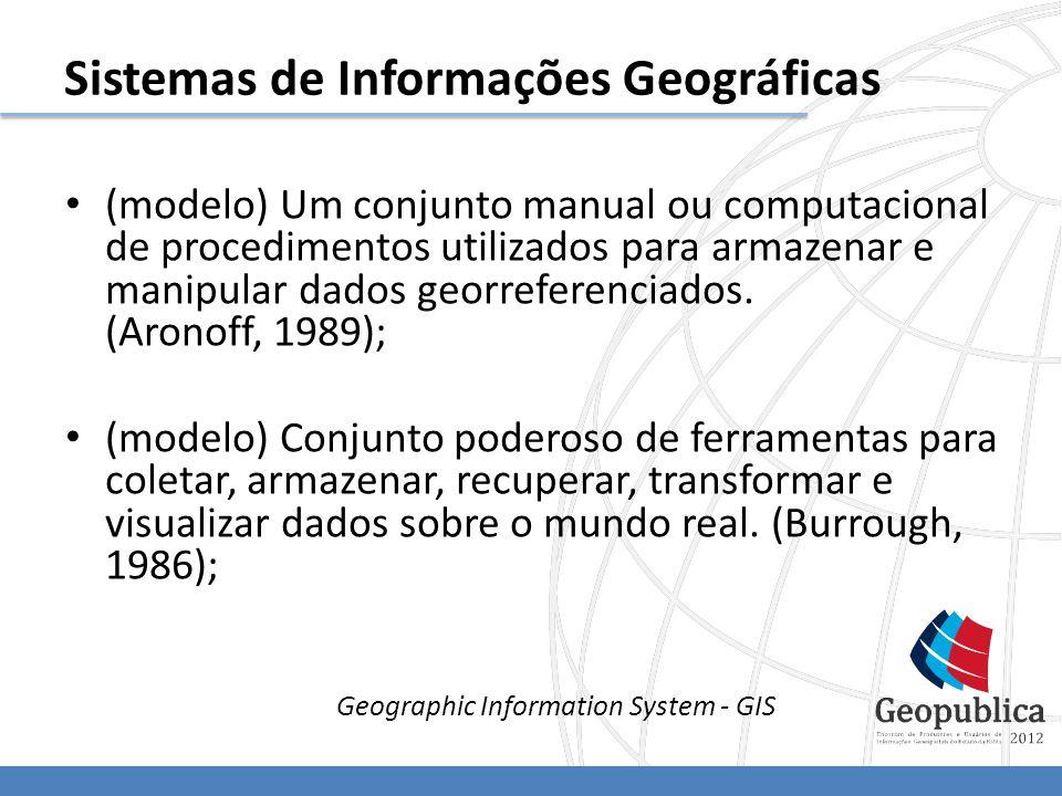 (modelo) Um conjunto manual ou computacional de procedimentos utilizados para armazenar e manipular dados georreferenciados.