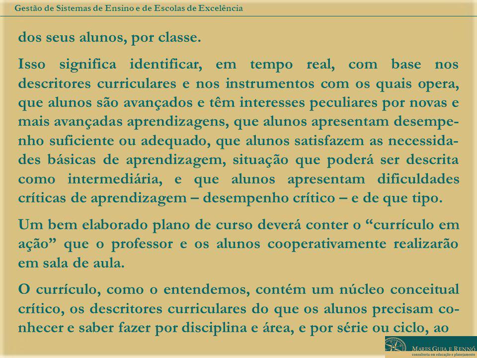 dos seus alunos, por classe. Isso significa identificar, em tempo real, com base nos descritores curriculares e nos instrumentos com os quais opera, q
