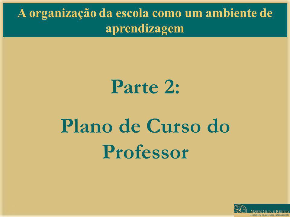 A organização da escola como um ambiente de aprendizagem Parte 2: Plano de Curso do Professor