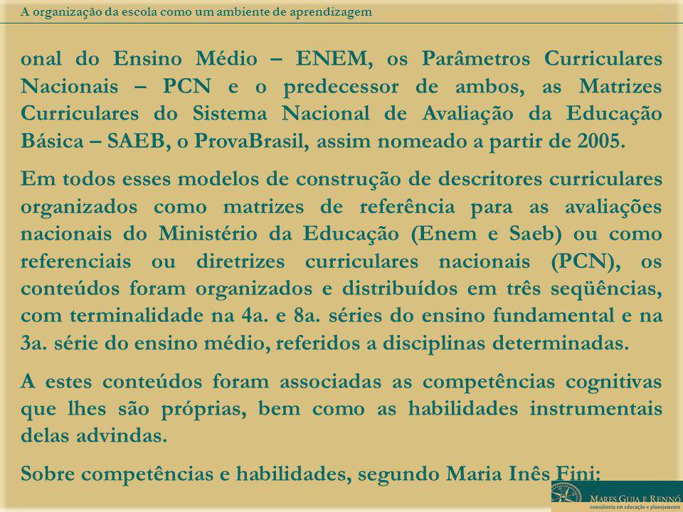 onal do Ensino Médio – ENEM, os Parâmetros Curriculares Nacionais – PCN e o predecessor de ambos, as Matrizes Curriculares do Sistema Nacional de Avaliação da Educação Básica – SAEB, o ProvaBrasil, assim nomeado a partir de 2005.