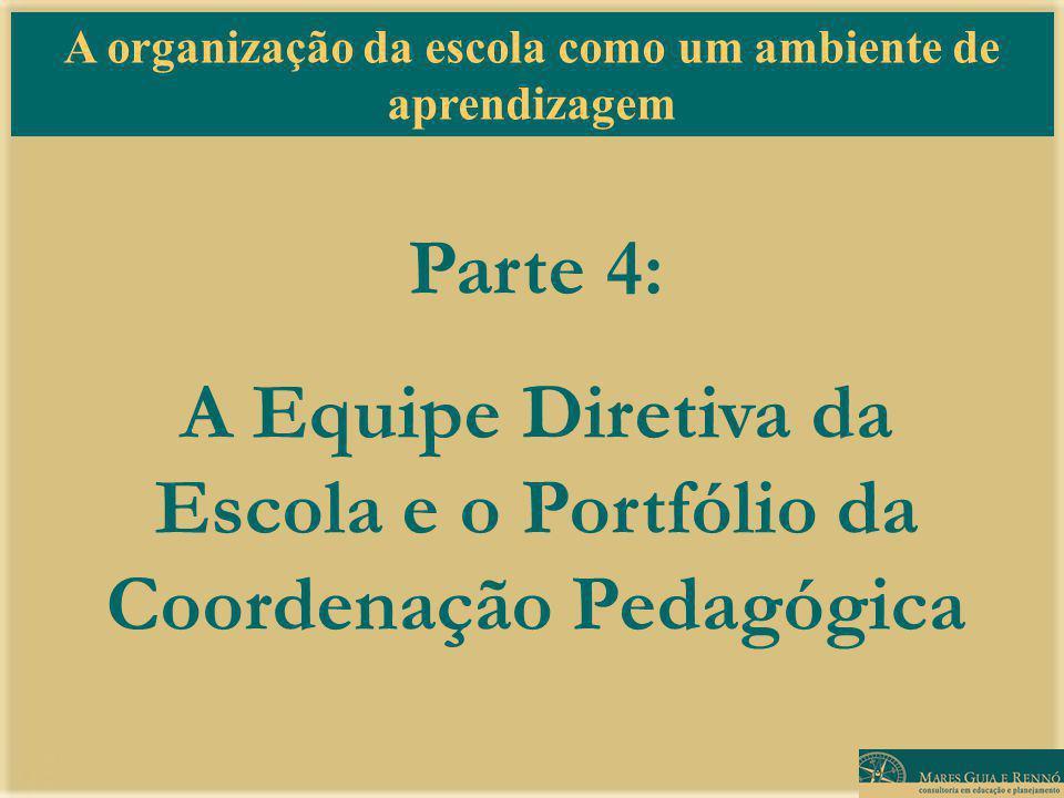 A organização da escola como um ambiente de aprendizagem Parte 4: A Equipe Diretiva da Escola e o Portfólio da Coordenação Pedagógica