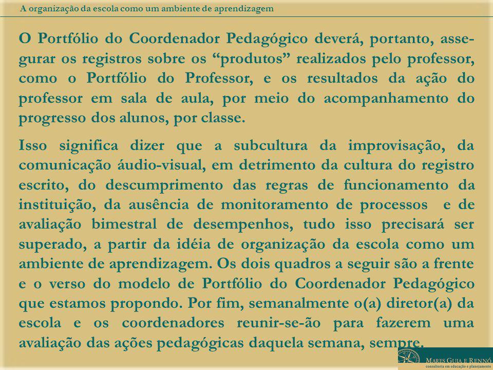O Portfólio do Coordenador Pedagógico deverá, portanto, asse- gurar os registros sobre os produtos realizados pelo professor, como o Portfólio do Prof
