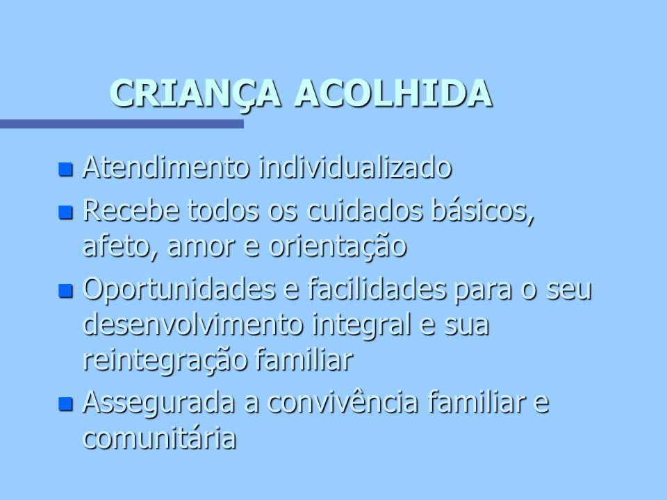 CARACTERÍSTICAS DO ATENDIMENTO n Socialização n Emocional n Tratamento n Desenvolvimento infantil (Quadro demonstrativo livro O Direito à Convivência Familiar e Comunitária, IPEA/CONANDA p.