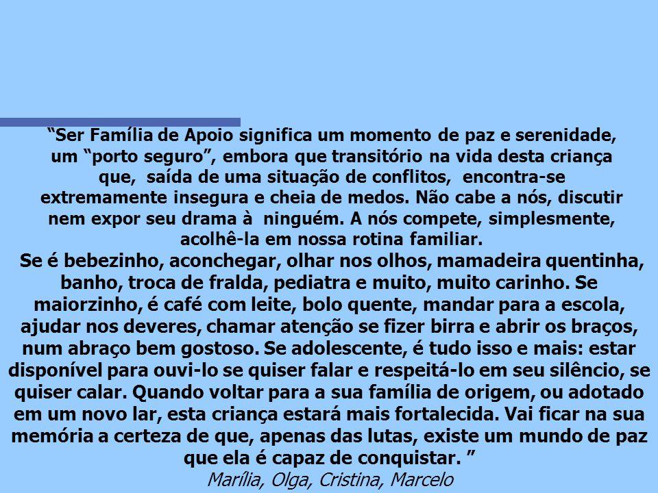 Para nós ser Família de Apoio é...
