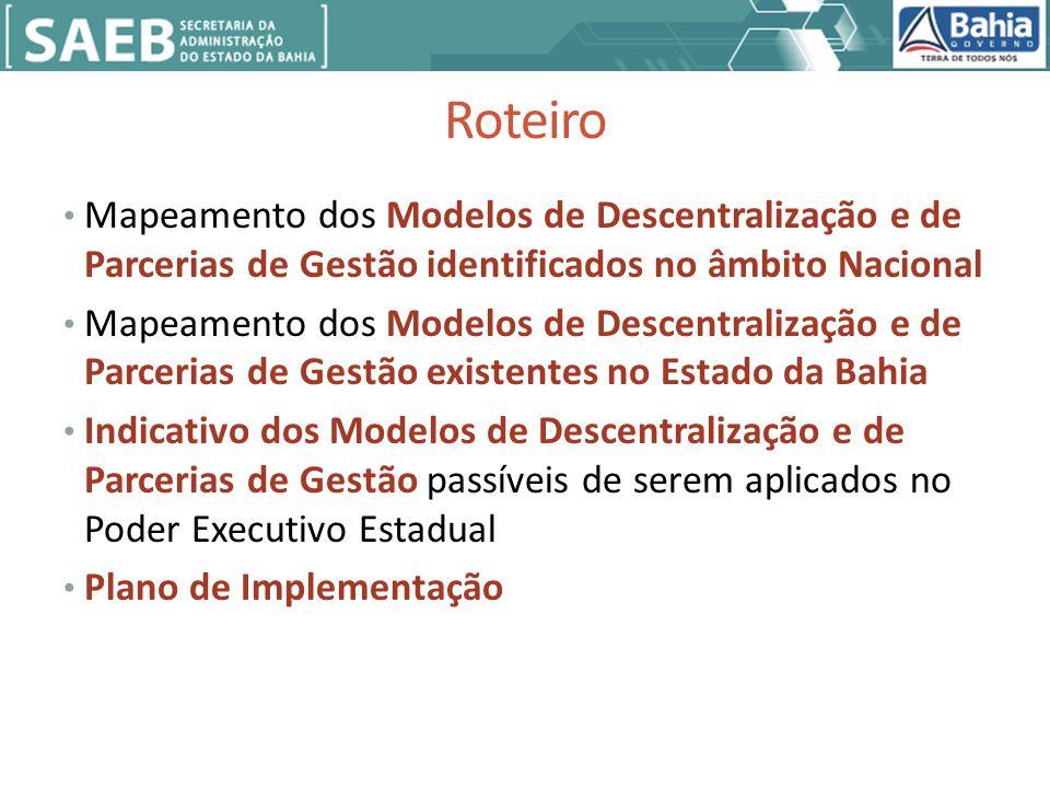 Roteiro Mapeamento dos Modelos de Descentralização e de Parcerias de Gestão identificados no âmbito Nacional Mapeamento dos Modelos de Descentralização e de Parcerias de Gestão existentes no Estado da Bahia Indicativo dos Modelos de Descentralização e de Parcerias de Gestão passíveis de serem aplicados no Poder Executivo Estadual Plano de Implementação