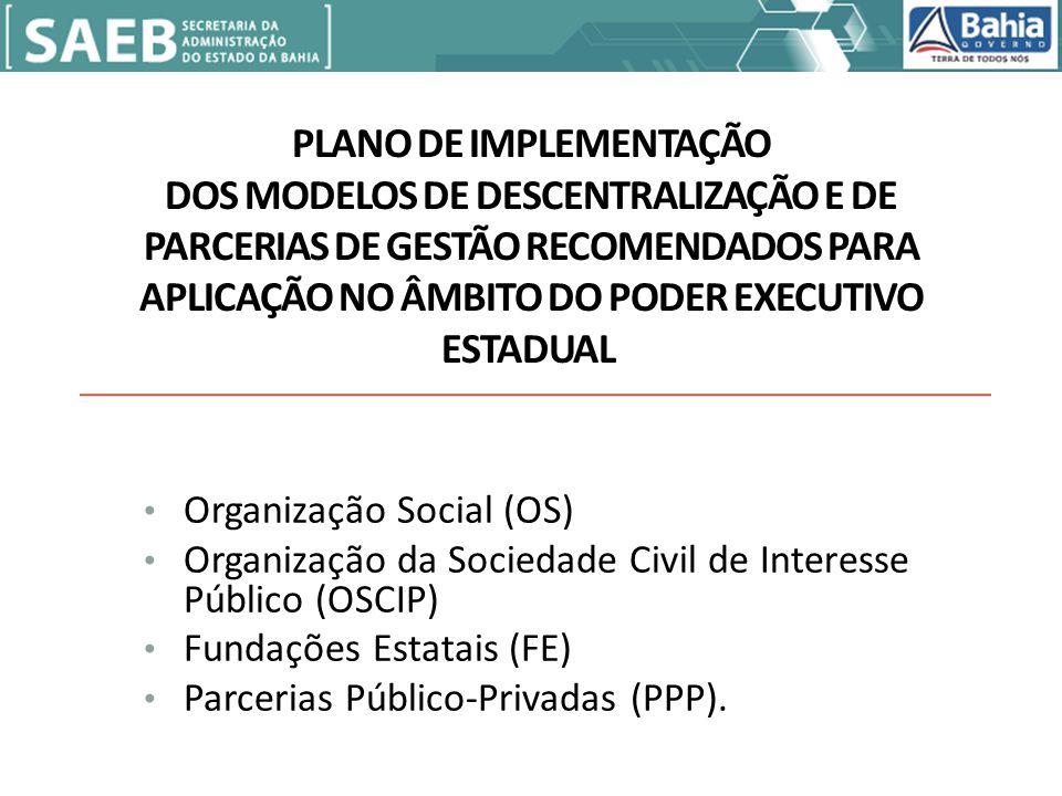 PLANO DE IMPLEMENTAÇÃO DOS MODELOS DE DESCENTRALIZAÇÃO E DE PARCERIAS DE GESTÃO RECOMENDADOS PARA APLICAÇÃO NO ÂMBITO DO PODER EXECUTIVO ESTADUAL Organização Social (OS) Organização da Sociedade Civil de Interesse Público (OSCIP) Fundações Estatais (FE) Parcerias Público-Privadas (PPP).