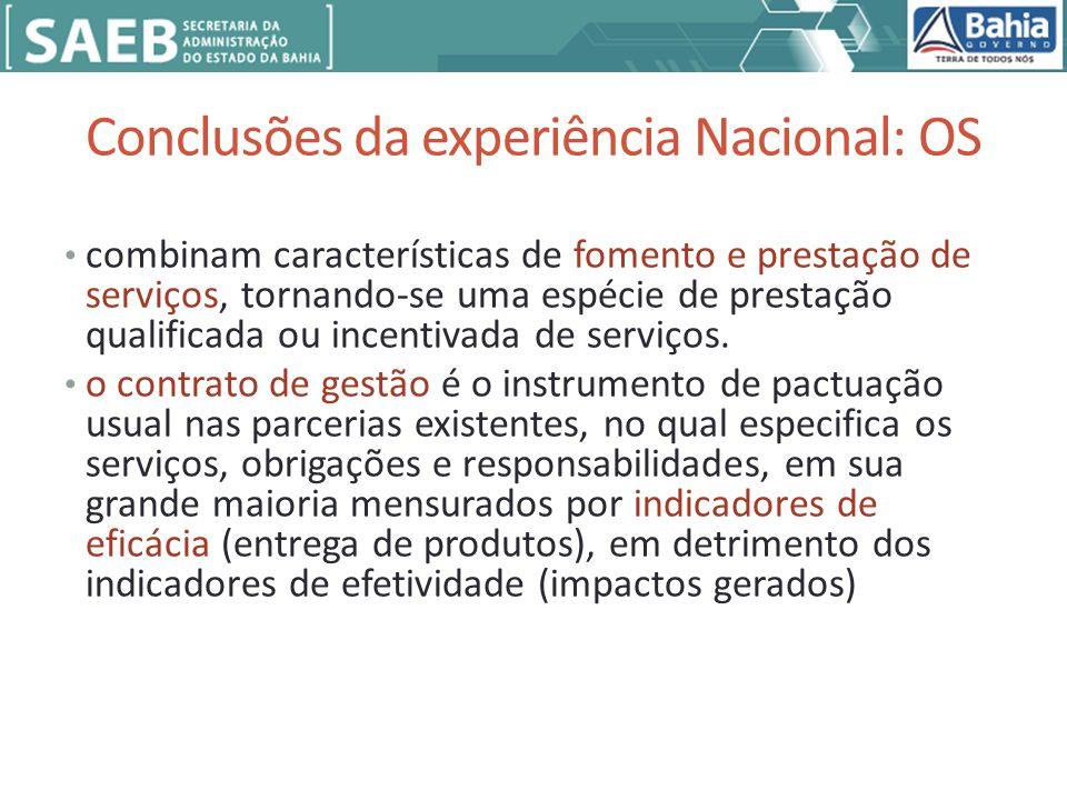 Conclusões da experiência Nacional: OS combinam características de fomento e prestação de serviços, tornando-se uma espécie de prestação qualificada ou incentivada de serviços.