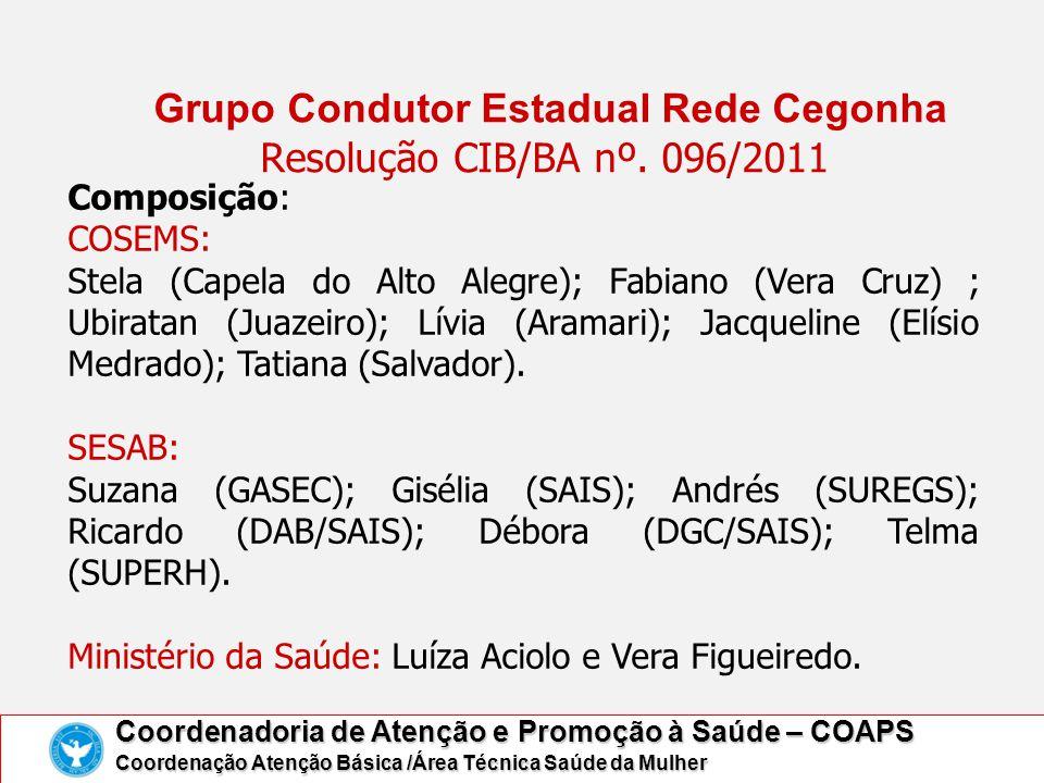 Grupo Condutor Estadual Rede Cegonha Resolução CIB/BA nº. 096/2011 Coordenadoria de Atenção e Promoção à Saúde – COAPS Coordenação Atenção Básica /Áre