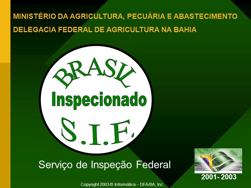Serviço de Inspeção Federal Copyright 2003 © Informática – DFA/BA, Inc.