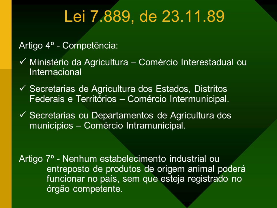 Lei 7.889, de 23.11.89 Artigo 1º - A inspeção sanitária e industrial dos produtos de origem animal é de competência da União, dos Estados e Municípios
