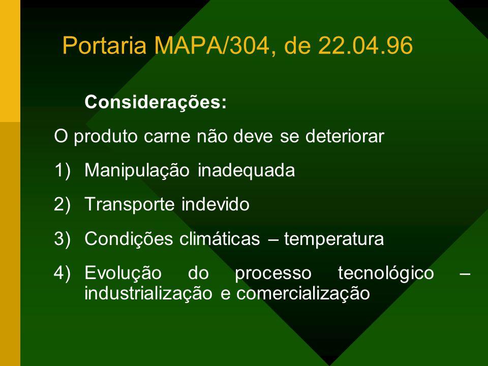 Considerações: O produto carne não deve se deteriorar 1)Manipulação inadequada 2)Transporte indevido 3)Condições climáticas – temperatura 4)Evolução do processo tecnológico – industrialização e comercialização Portaria MAPA/304, de 22.04.96