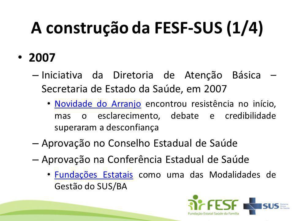 A construção da FESF-SUS (1/4) 2007 – Iniciativa da Diretoria de Atenção Básica – Secretaria de Estado da Saúde, em 2007 Novidade do Arranjo encontrou