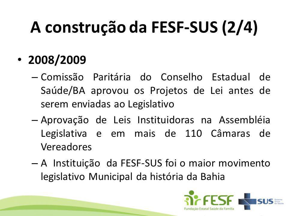 A construção da FESF-SUS (2/4) 2008/2009 – Comissão Paritária do Conselho Estadual de Saúde/BA aprovou os Projetos de Lei antes de serem enviadas ao L