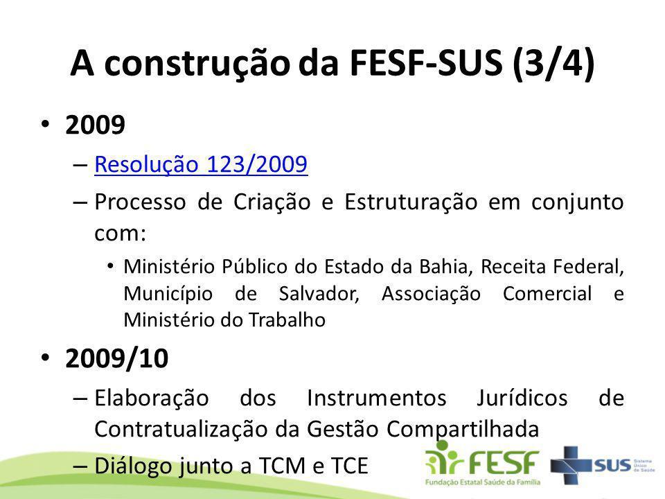 A construção da FESF-SUS (3/4) 2009 – Resolução 123/2009 Resolução 123/2009 – Processo de Criação e Estruturação em conjunto com: Ministério Público d