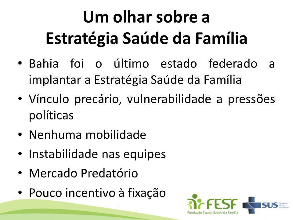Um olhar sobre a Estratégia Saúde da Família Bahia foi o último estado federado a implantar a Estratégia Saúde da Família Vínculo precário, vulnerabil