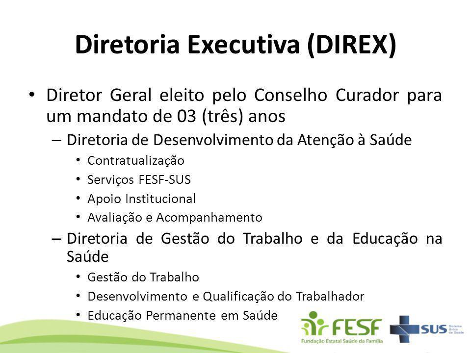 Diretoria Executiva (DIREX) Diretor Geral eleito pelo Conselho Curador para um mandato de 03 (três) anos – Diretoria de Desenvolvimento da Atenção à S